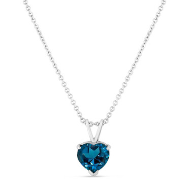 London Blue Topaz Pendant Necklace, Heart Love Pendant Necklace, Solitaire Pendant Necklace, 1.30 Carat 14K White Gold Handmade