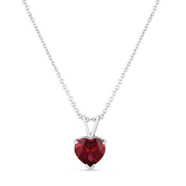 Garnet Pendant Necklace, Heart Shape Red Garnet Pendant Necklace, Solitaire Love Pendant Necklace, 1.30 Carat 14K White Gold Handmade