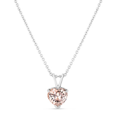 1 Carat Morganite Pendant Necklace, Heart Love Pendant, Solitaire Pendant Necklace, 14K White Gold Certified Handmade