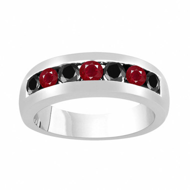 Alternating Black Diamond and Rubies Wedding Band, Ruby Mens Wedding Ring, Unisex Anniversary Ring, 0.94 Carat 14K White Gold 6 mm Handmade