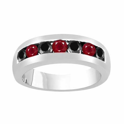 Platinum Alternating Black Diamond & Rubies Wedding Band, Mens Ruby Wedding Ring, Unisex Anniversary Ring, 0.94 Carat 6 mm Handmade