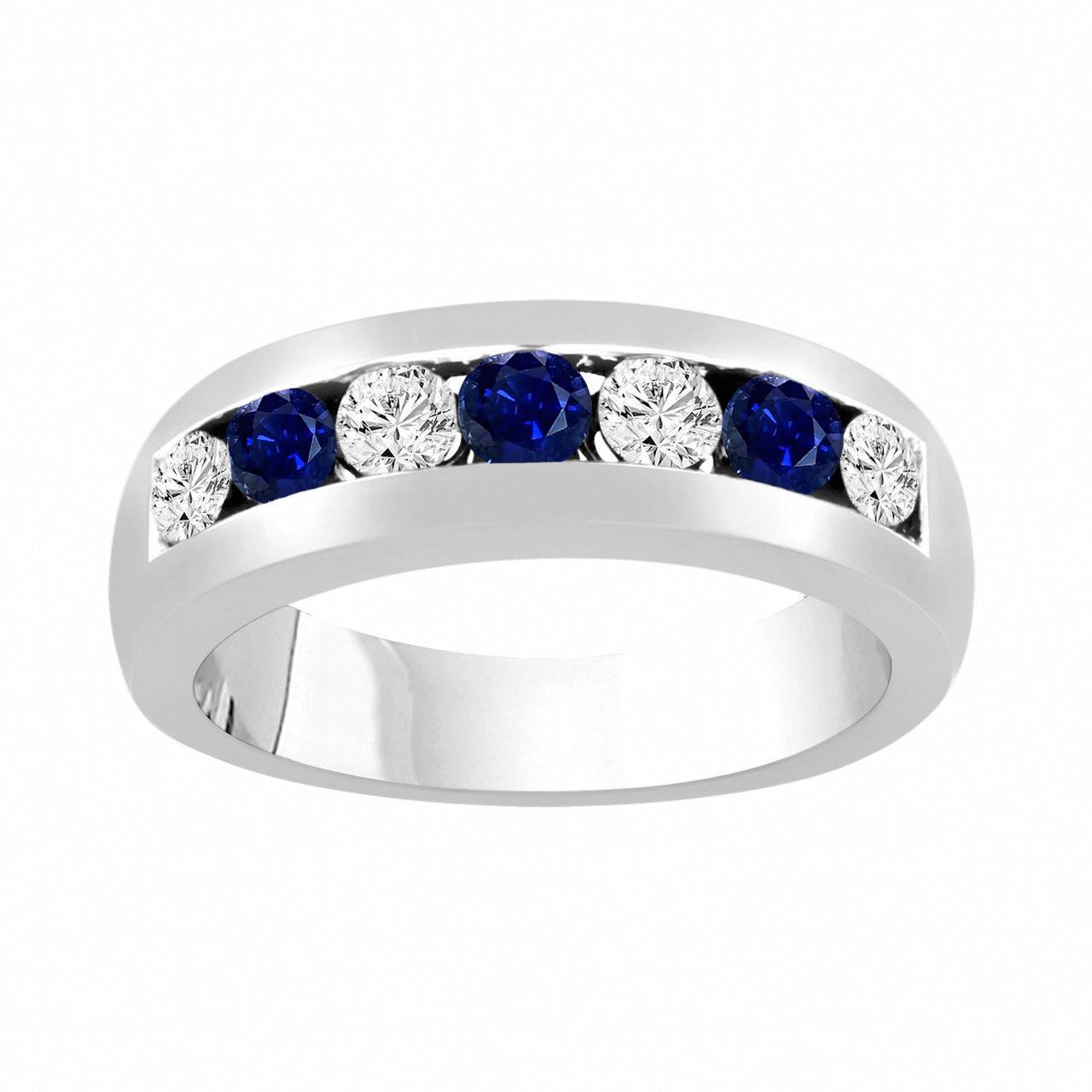 Mens Wedding Bands With Diamonds.Alternating Sapphire And Diamonds Wedding Band Blue Sapphire Mens Wedding Ring Unisex Anniversary Ring 0 81 Carat 14k White Gold 6 Mm