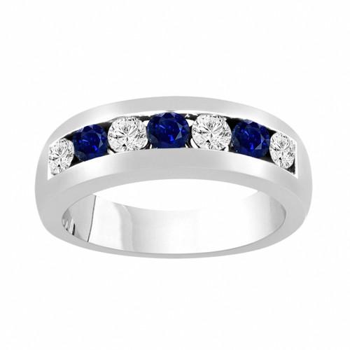 Alternating Sapphire and Diamonds Wedding Band, Blue Sapphire Mens Wedding Ring, Unisex Anniversary Ring, 0.81 Carat 14K White Gold 6 mm