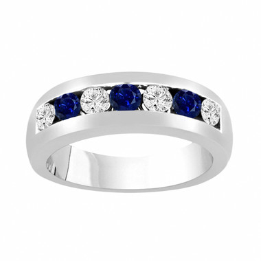 Alternating Sapphire and Diamonds Wedding Band, Blue Sapphire Mens Wedding Ring, Unisex Anniversary Ring, 0.81 Carat 14K White Gold 6 mm