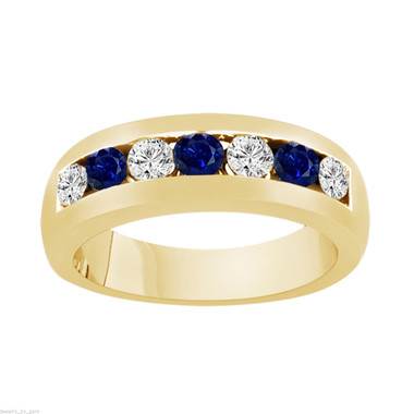 Alternating Sapphire and Diamonds Wedding Band Yellow Gold, Blue Sapphire Mens Wedding Ring, Unisex Anniversary Ring, 0.81 Carat 6 mm