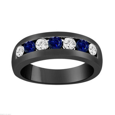 Vintage Alternating Sapphire and Diamonds Wedding Ring, Sapphire Mens Wedding Band, Unisex Anniversary Ring, 0.81 Carat 14K Black Gold 6 mm