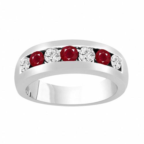Alternating Diamonds & Rubies Wedding Band, Mens Ruby Wedding Ring, Unisex Anniversary Ring, 0.81 Carat 14K White Gold 6 mm