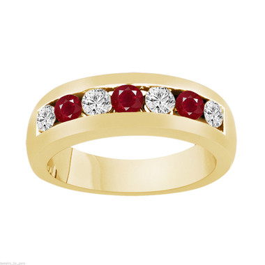 Alternating Rubies and Diamonds Wedding Band, Mens Ruby Wedding Ring, Unisex Anniversary Ring, 0.81 Carat 14K Yellow Gold 6 mm