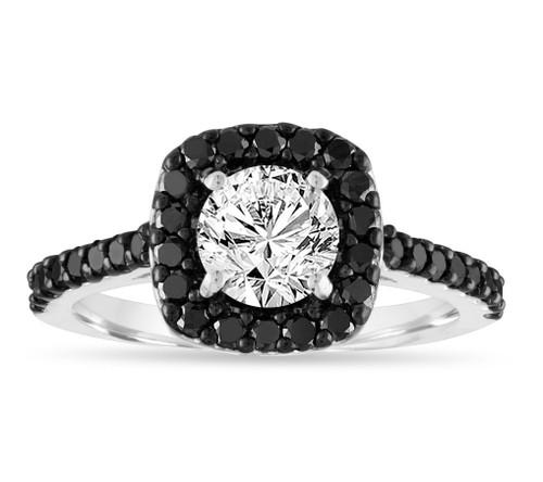 1.67 Carat Diamond Engagement Ring, White & Black Diamond Wedding Ring, GIA Certified Unique Bridal Ring, 14K White Gold Halo Pave handmade