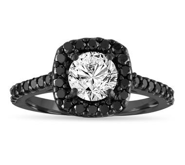 Vintage Diamond Engagement Ring, White & Black Diamond Wedding Ring, 1.67 Carat GIA Certified Unique Bridal Ring, 14K Black Gold Halo Pave