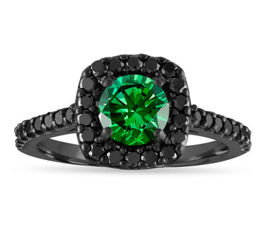1.68 Carat Green Diamond Engagement Ring, Green & Black Diamond Vintage Wedding Ring, 14K Black Gold Unique Halo Certified Handmade