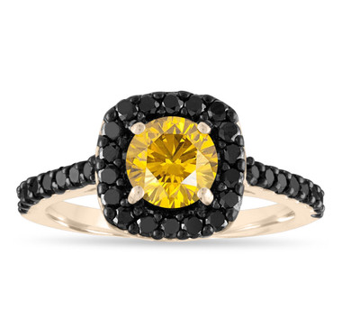 1.68 Carat Yellow Diamond Engagement Ring, Canary Diamond Wedding Ring, Cushion Cut Ring, 14K Yellow Gold Unique Halo Certified Handmade