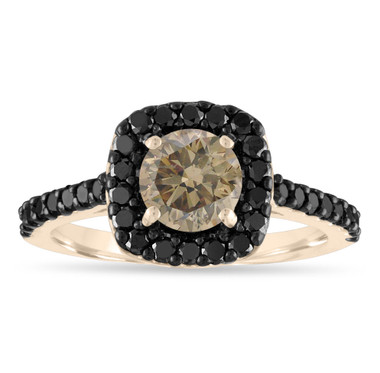 Champagne Diamond Engagement Ring, Brown & Black Diamond Ring, 1.68 Carat 14K Yellow Gold Unique Certified Handmade