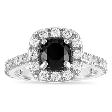 2 Carat Black Diamond Engagement Ring, Black Diamond Wedding Ring, Halo Engagement Ring, 14k White Gold Unique Handmade Certified