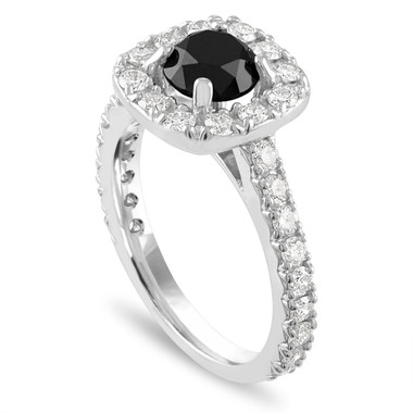 Platinum Black Diamond Engagement Ring, 2.15 Carat Black Diamond Wedding Ring, Halo Engagement Ring, Unique Handmade Certified