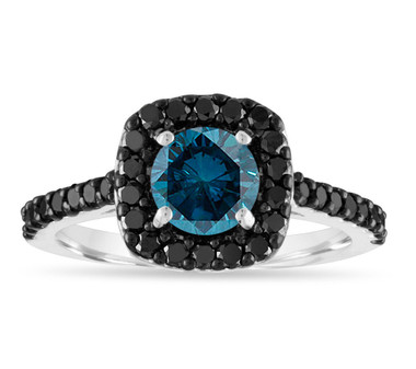 1.68 Carat Blue Diamond Engagement Ring, Black & Blue Diamond Bridal Ring, 14k White Gold Unique Halo Pave Certified Handmade