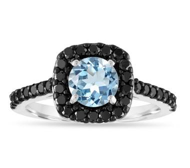 1.53 Carat Aquamarine Engagement Ring, Aquamarine Wedding Ring, Certified Halo Pave Handmade