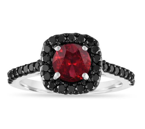1.82 Carat Garnet Engagement Ring, Red Garnet Ring, Garnet & Black Diamonds Bridal Ring, 14k White Gold Certified Halo Handmade