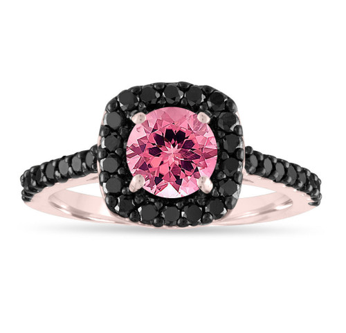 Pink Tourmaline Engagement Ring, Rose Gold Tourmaline & Black Diamond Wedding Ring, Halo Pave 1.67 Carat Certified Unique Handmade