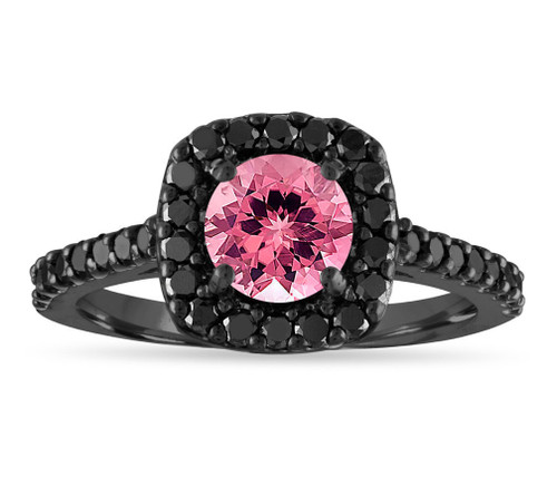 1.67 Carat Pink Tourmaline Engagement Ring, Tourmaline & Black Diamond Wedding Ring, 14k Black Gold Vintage Halo Certified Unique Handmade