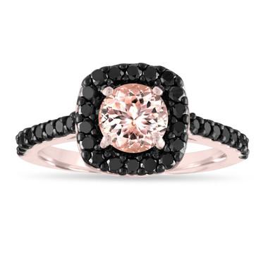 1.57 Carat Morganite Engagement Ring, 14k Rose Gold Pink Peach Morganite Cushion Cut Wedding Ring, Certified Pave Handmade