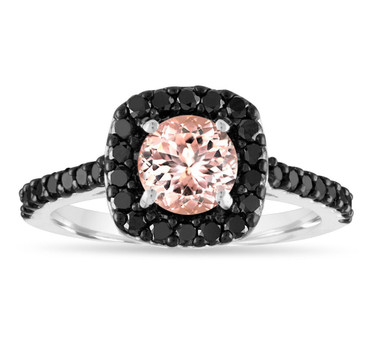 1.57 Carat Morganite Engagement Ring, 14k White Gold Pink Peach Morganite Cushion Cut Wedding Ring, Certified Pave Handmade
