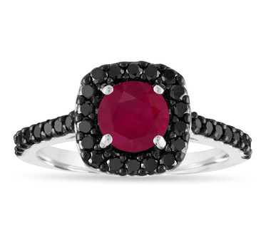 1.67 Carat Ruby Engagement Ring, Red Ruby & Black Diamonds Wedding Ring, 14K White Gold Certified Halo Handmade