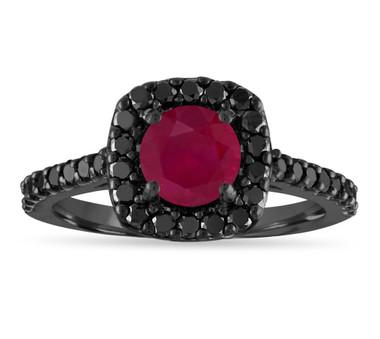 Ruby Engagement Ring Vintage, Red Ruby & Black Diamonds Wedding Ring, 1.67 Carat 14K Black Gold Certified Halo Handmade