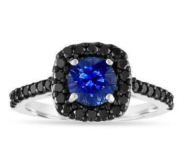 1.67 Carat Sapphire Engagement Ring, Blue Sapphire & Black Diamonds Wedding Ring, 14K White Gold Certified Pave Unique Handmade