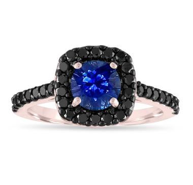 Sapphire Engagement Ring Rose Gold, Blue Sapphire & Black Diamonds Wedding Ring, 1.67 Carat Certified Pave Unique Handmade