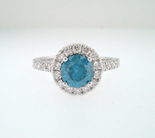 1.79 Carat Blue Diamond Engagement Ring, 14K White Gold Unique Halo Pave Certified Handmade