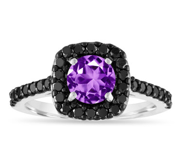1.67 Carat Amethyst Engagement Ring, Amethyst and Black Diamonds Wedding Ring, 14K White Gold Certified Unique Halo Pave Handmade