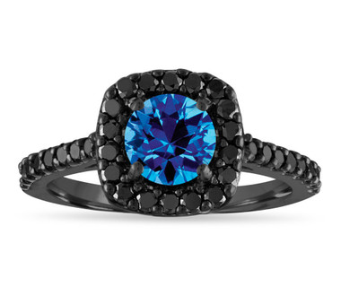Blue Topaz Engagement Ring, Blue Topaz and Black Diamonds Wedding Ring, 1.68 Carat 14K Black Gold Certified Halo Pave Unique