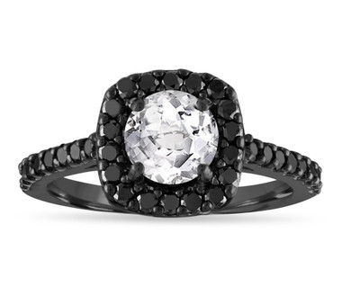 White Topaz Engagement Ring, White Topaz and Black Diamonds Wedding Ring, 1.67 Carat 14K Black Gold Certified Halo Pave Unique