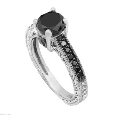 Platinum Black Diamond Engagement Ring, 0.79 Carat Antique Vintage Style Engraved Pave Set Handmade Certified