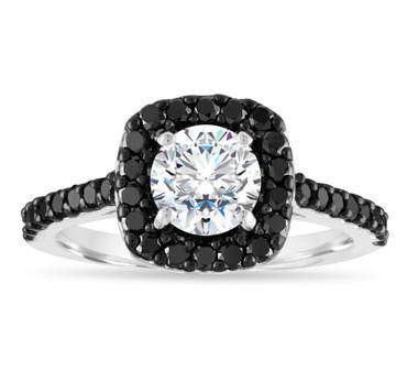 1.50 Carat Moissanite Engagement Ring, Moissanite and Black Diamond Wedding Ring, 14k White Gold Unique Halo Pave Certified Handmade