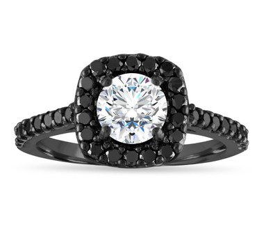 Vintage Moissanite Engagement Ring, Moissanite and Black Diamond Wedding Ring, 1.50 Carat 14k Black Gold Unique Halo Pave Certified Handmade