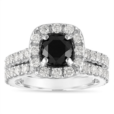 Black Diamond Engagement Ring Set, Black Diamond Wedding Ring Sets, 2.65 Carat Halo Pave 14k White Gold Unique Handmade Certified