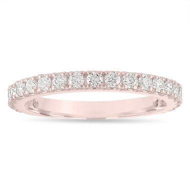 Diamond Wedding Band Rose Gold, Half Eternity Wedding Ring, Diamonds Anniversary Ring, 0.63 Carat Certified Handmade
