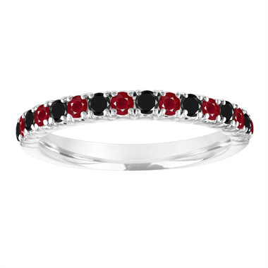 Alternating Ruby and Black Diamond Wedding Band, 14k White Gold Half Eternity Wedding Ring, Anniversary Ring, 0.50 Carat Certified Handmade