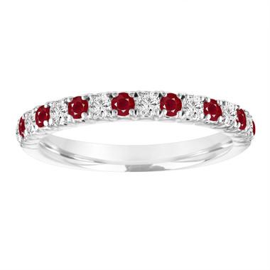 Alternating Ruby and Diamond Wedding Ring, Half Eternity Wedding Band White Gold, Diamonds Anniversary Ring, 0.50 Carat Certified Handmade