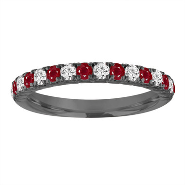 Alternating Ruby and Diamond Wedding Band, Half Eternity Vintage Wedding Ring, Black Gold Diamonds Anniversary Ring, 0.50 Carat Handmade