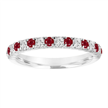 Platinum Alternating Ruby and Diamond Wedding Band, Half Eternity Wedding Ring, Anniversary Ring, 0.50 Carat Certified Handmade