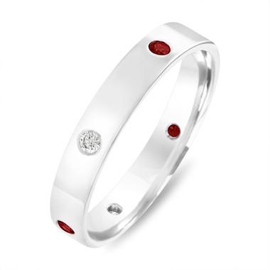 Ruby & Diamonds Eternity Wedding Band, Alternating Burnish Set Womens Wedding Ring, Mens Flat Wedding Band 4 mm Anniversary Ring White Gold