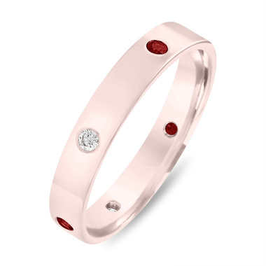 5 mm Diamond Eternity Wedding Ring, Alternating Ruby & Diamonds Wedding Band, Mens Flat Wedding Band 14k Rose Gold Anniversary Ring