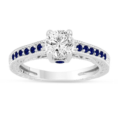 Diamond & Sapphire Engagement Ring, Vintage Wedding Ring, GIA Certified 0.80 Carat 14K White Gold Unique Antique Style Handmade