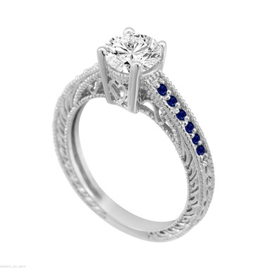 Diamond & Sapphire Engagement Ring, Sapphire Wedding Ring, GIA Certified 0.70 Carat 14K White Gold Unique Vintage Antique Style Handmade