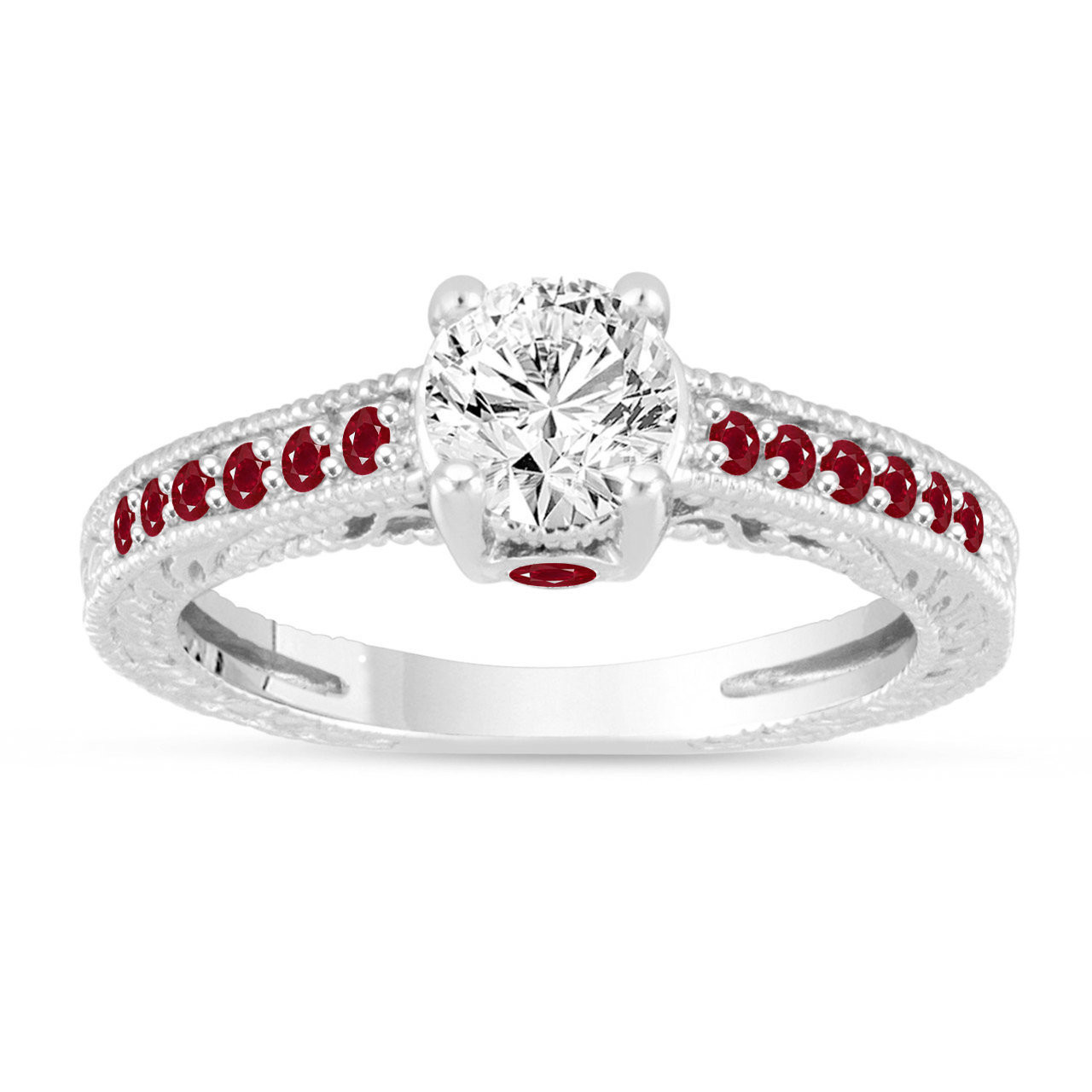Ruby Wedding Rings.Diamond Rubies Engagement Ring Vintage Ruby Wedding Ring Gia Certified 0 80 Carat 14k White Gold Unique Antique Style Handmade