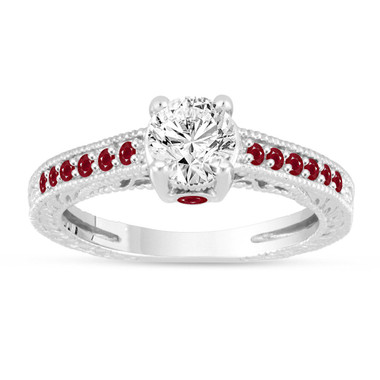 Diamond & Rubies Engagement Ring, Vintage Ruby Wedding Ring, GIA Certified 0.80 Carat 14K White Gold Unique Antique Style Handmade