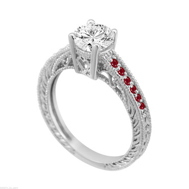 Diamond & Rubies Engagement Ring, Vintage Ruby Wedding Ring, Certified 0.70 Carat 14K White Gold Unique Antique Style Handmade